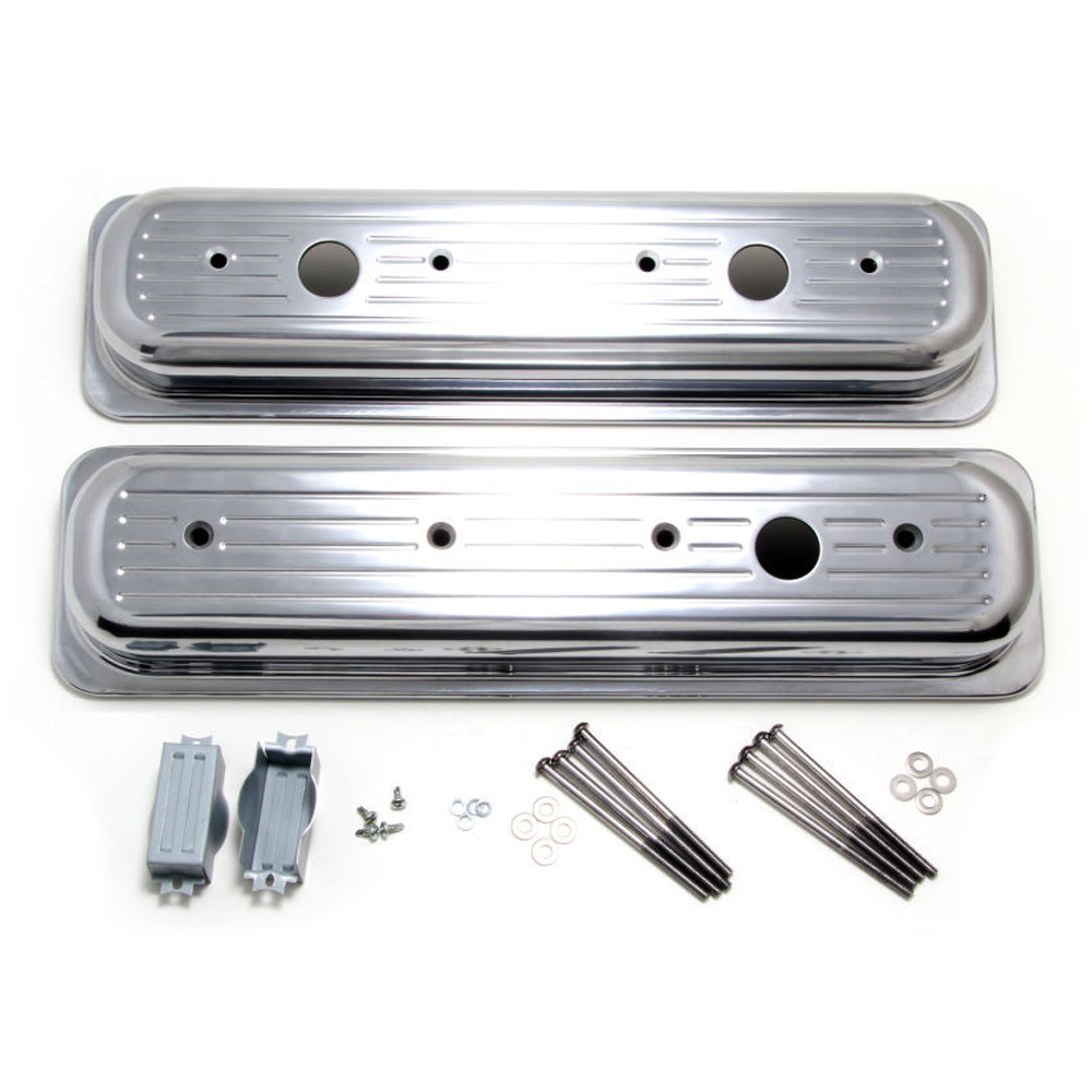 Trans Dapt 6724 Valve Cover, Short, Breather Holes, Grommets / Hardware Included, Ball Milled, Aluminum, Polished, Center Bolt, Small Block Chevy, Pair