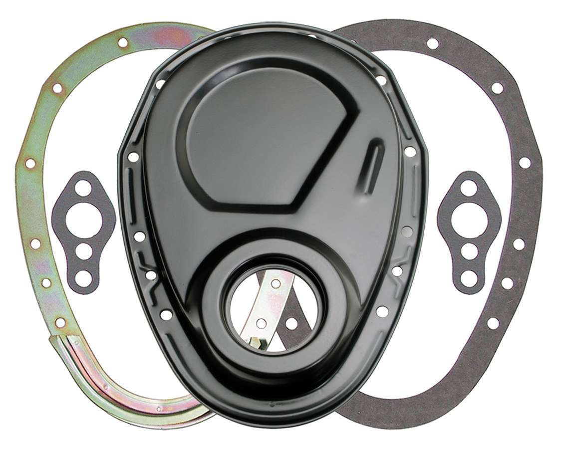 Trans Dapt 8638 Timing Cover, 2 Piece, Gaskets Included, Steel, Black Powder Coat, Small Block Chevy, Each