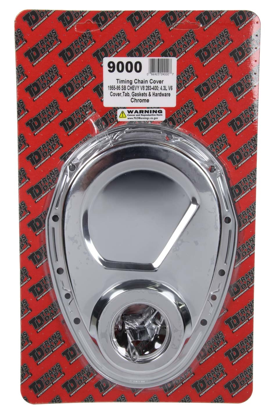 Trans Dapt 9000 Timing Cover, 1 Piece, Timing Tab, Gasket / Hardware / Seal Included, Steel, Chrome, Small Block Chevy, Kit