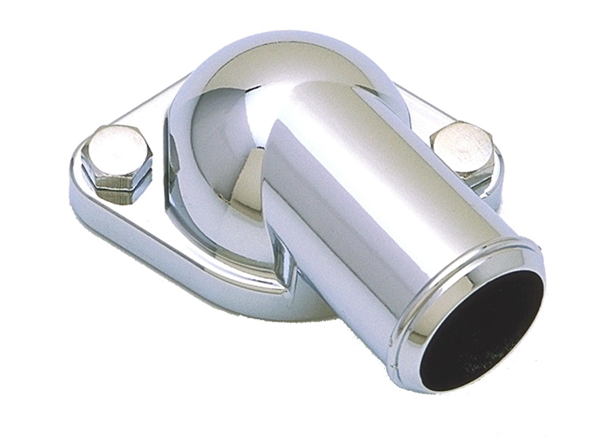 Trans Dapt 9230 Water Neck, 90 Degree, 1-1/2 in ID Hose, O-Ring, Hardware Included, Steel, Chrome, Pontiac V8, Each