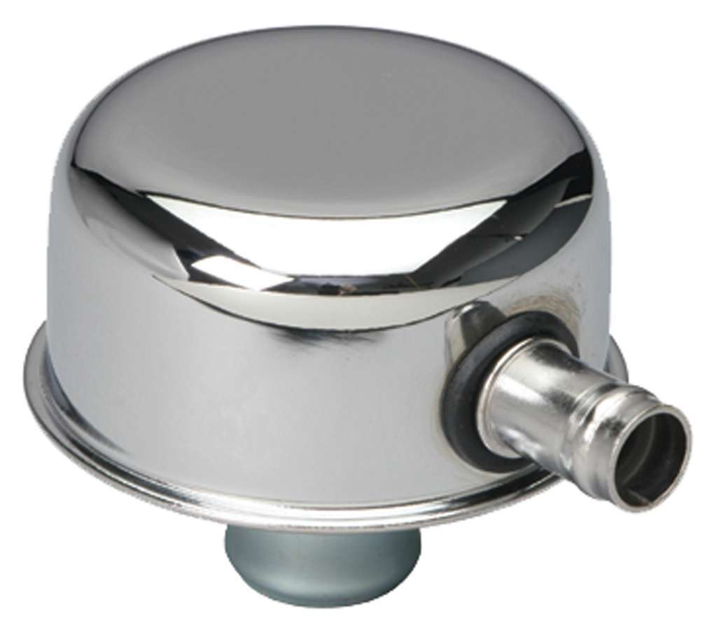 Trans Dapt 9241 Breather, Push-In, Round, 1-1/4 in Hole, 5/8 in Hose Barb Fitting, Steel, Chrome, Each
