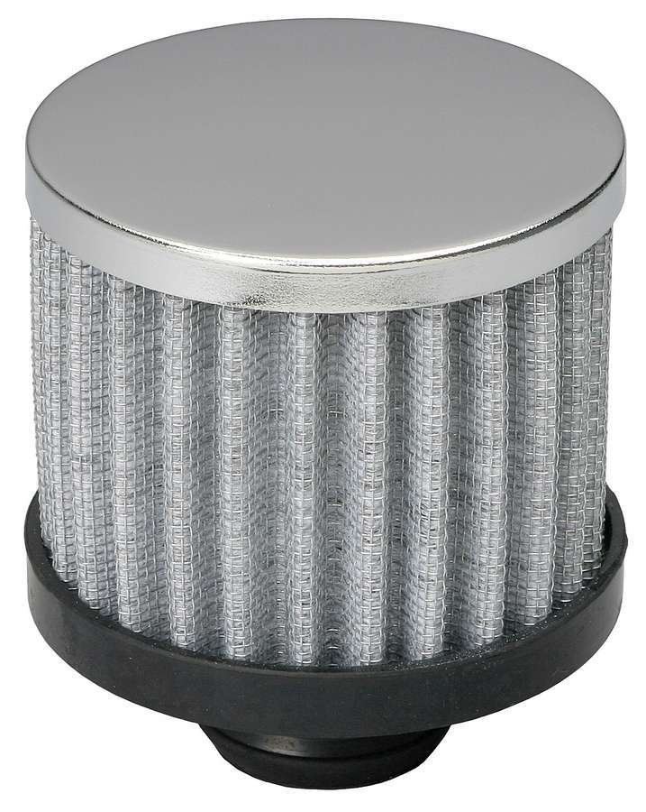 Trans Dapt 9308 Breather, Push-In, Round, 1-1/4 in Hole, 3 in Tall, Filtered, Steel, Chrome, Each
