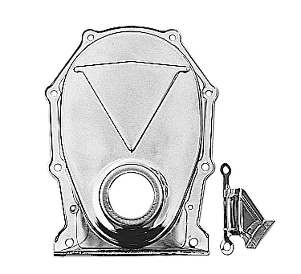 Trans Dapt 9392 Timing Cover, 1 Piece, Timing Tab, Steel, Chrome, Mopar B / RB-Series, Kit