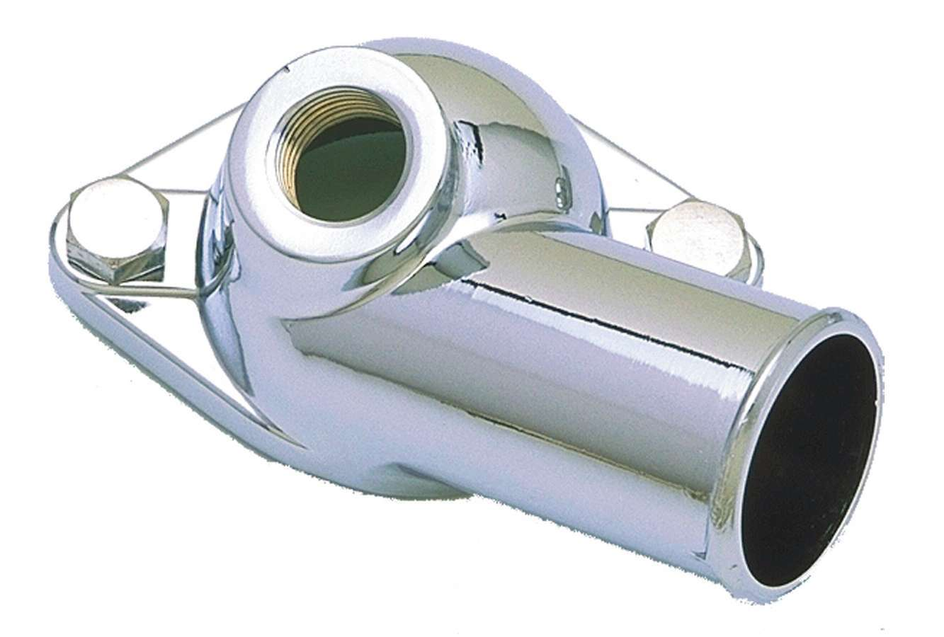 Trans Dapt 9468 Water Neck, 90 Degree, 1-1/2 in ID Hose, 1/2 in NPT Female Port, O-Ring, Hardware Included, Steel, Chrome, Chevy V8, Each