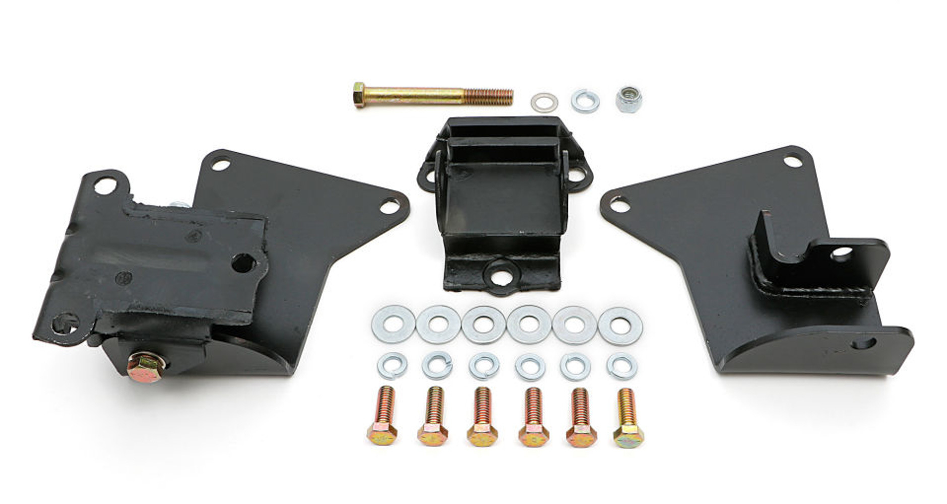 Trans Dapt 9556 Motor Mount Adapter, Bolt-On, Steel, Black Paint, Chevy V8, GM A-Body 1964-72, Kit