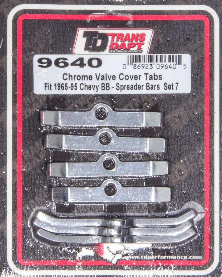 Trans Dapt 9640 Valve Cover Hold Down Tabs, Steel, Chrome, Big Block Chevy, Set of 7