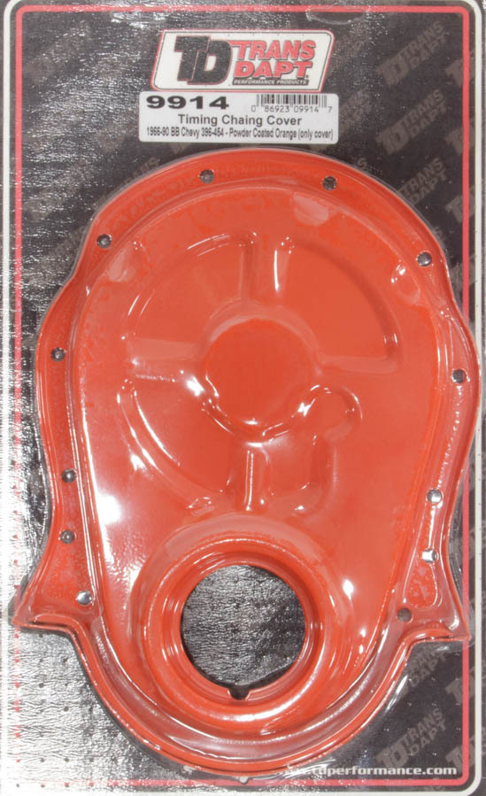 Trans Dapt 9914 Timing Cover, 1 Piece, Steel, Orange Powder Coat, Big Block Chevy, Each