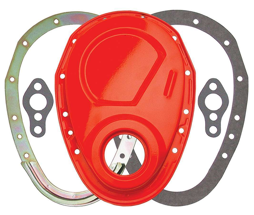 Trans Dapt 9923 Timing Cover, 2 Piece, Gaskets Included, Steel, Orange Powder Coat, Small Block Chevy, Each