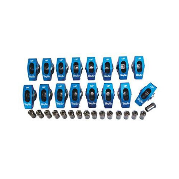 Trick Flow TFS-51400520 Rocker Arm, 7/16 in Stud, 1.6 Ratio, Full Roller, Aluminum, Small Block Ford, Set of 16