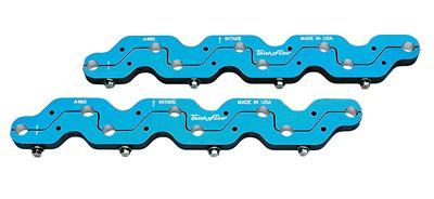 Trick Flow TFS-54400700 Rocker Arm Stud Girdle, 7/16-20 in Adjusting Nuts, Aluminum, Blue Anodize, A460 Head, Big Block Ford, Pair