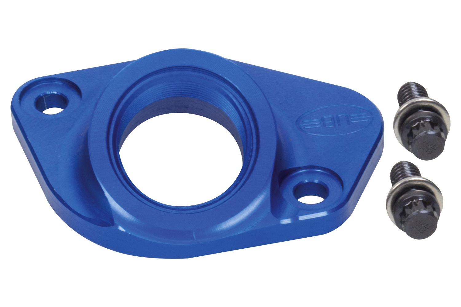 U-B Machine 60-1251-A Water Neck, Straight, 1-1/2 in AN, Bolt-On, Billet Aluminum, Blue Anodized, Small Block Ford, Each