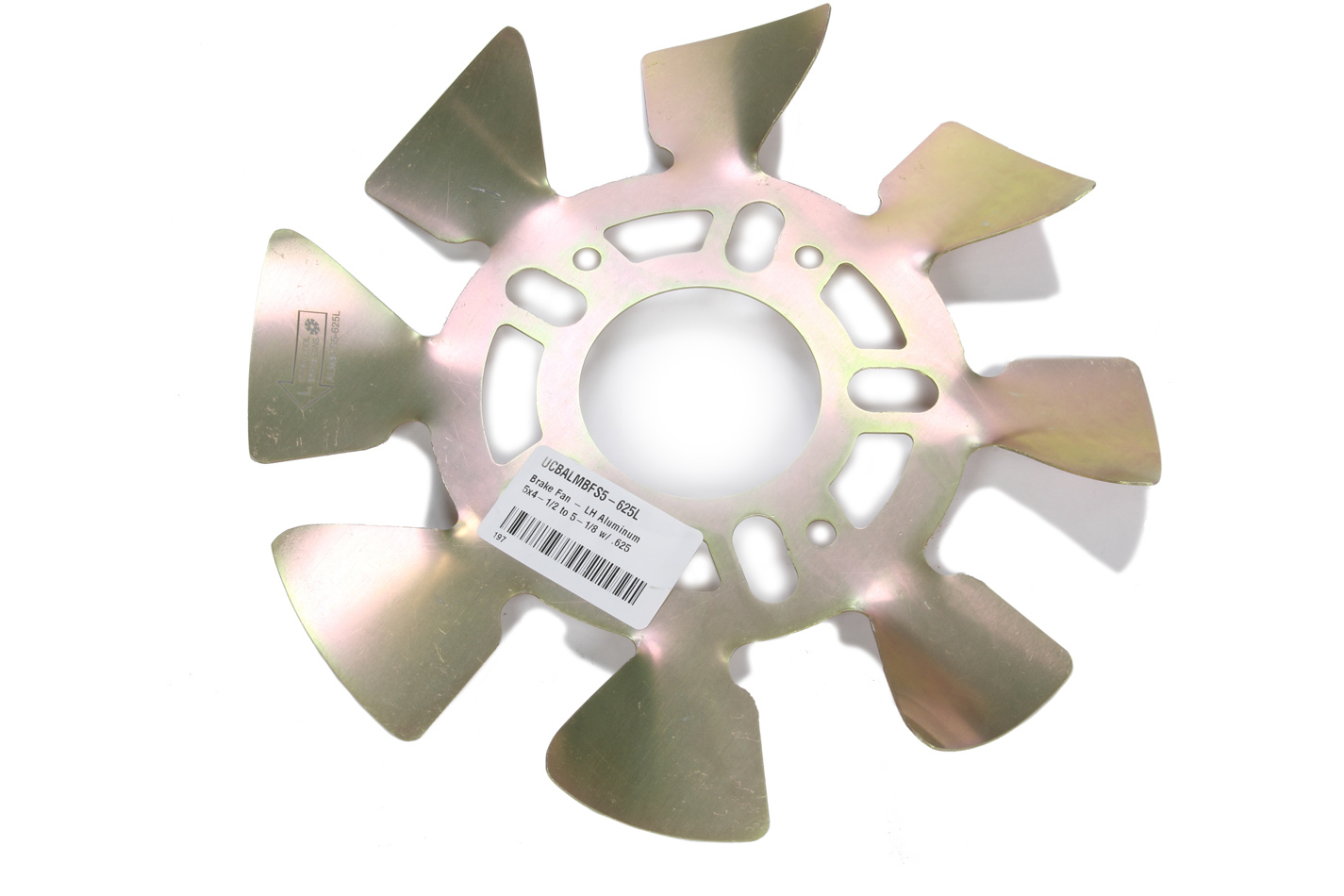 Ultra Cool Brake Fans ALMBFS5-625L Brake Cooling Fan, Driver Side, Hub Mounted, 11-1/2 in Diameter, 5 x 4-1/2 to 5-1/8, 5/8 in Studs, Aluminum, Natural, Each