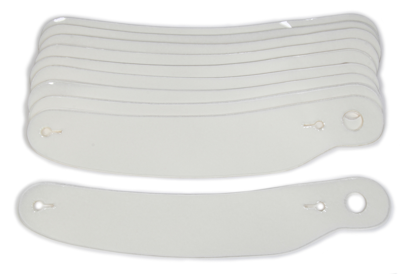 Ultra Shield 01202 Helmet Shield Tear Off, 2 mm Thick, 12-3/8 in Center to Center, Curved, Plastic, Clear, Bell / G-Force / Pyrotech Helmets, Set of 200