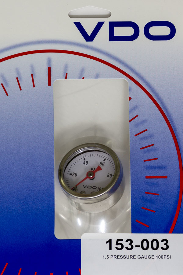 VDO 153-003 Oil Pressure Gauge, 0-100 psi, Mechanical, Analog, 1-1/2 in Diameter, 1/8 in NPT Port, White Face, Each