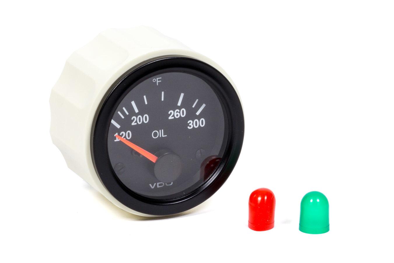 VDO 310-106 Oil Temperature Gauge, Vision, 120-300 Degree F, Electric, Analog, Short Sweep, 2-1/16 in Diameter, Black Face, Each
