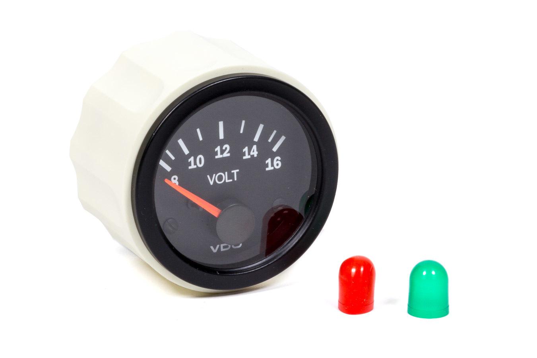 """VDO Vision Electrical Voltmeter Gauge 2 1//16/"""" Dia Black Face 332103"""