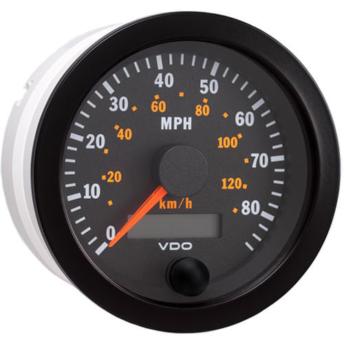 VDO 437-152 Speedometer, Vision, 85 MPH, Electric, Analog, 3-3/8 in Diameter, Programmable, Black Face, Each