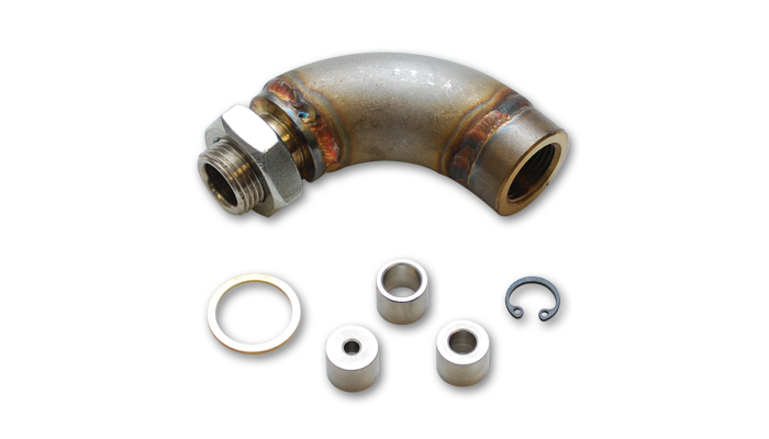 Vibrant Performance 11619 Oxygen Sensor Extension, J-Bend, 18 mm x 1.50 in Female Threads, Restrictor Fittings Included, Stainless, Natural, Each