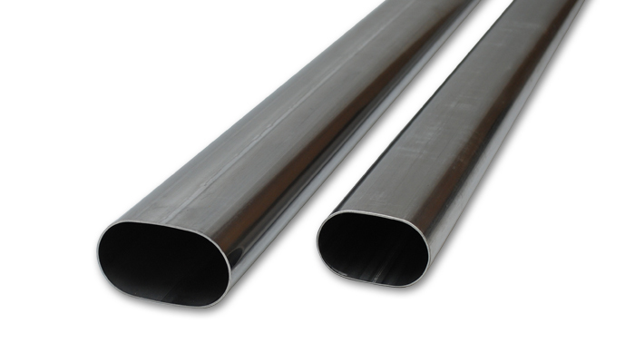 Vibrant Performance 13183 Exhaust Pipe, Straight, Oval, 3-1/2 in Diameter, 5 ft Long, 16 Gauge, Stainless, Natural, Each
