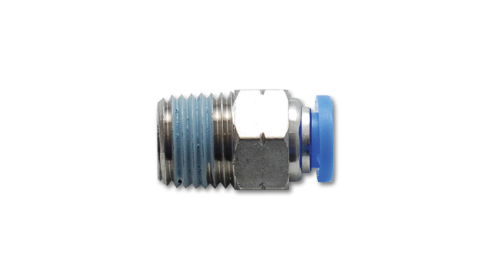 Vibrant Performance 2662 Fitting, Adapter, Straight, 1/8 in NPT Male to 1/4 in Female Pushlock, Stainless / Plastic, Each