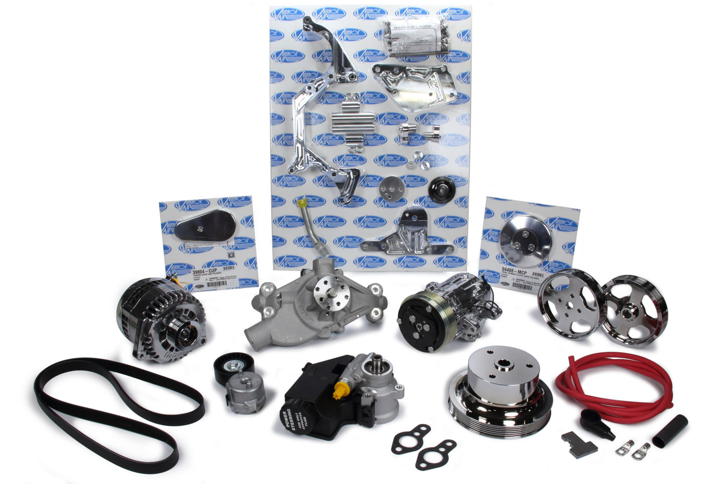 Vintage Air 174015 Pulley Kit, Front Runner, 6 Rib Serpentine, Aluminum, Polished, Small Block Chevy, Kit