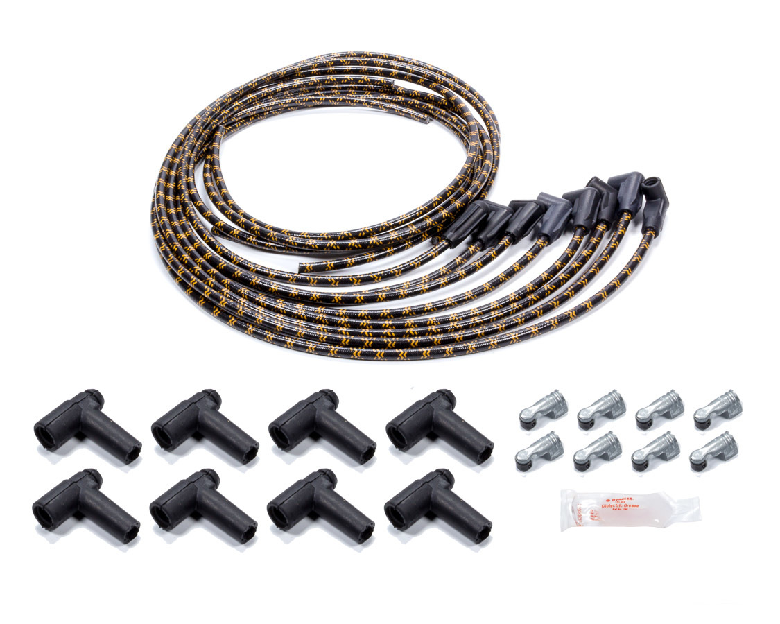 Vintage Wires 4009900100-2 Spark Plug Wire Set, Spiral Core, 7.8 mm, Lacquer Covered Cotton Braid, Black / Orange, 90 Degree Boots, HEI Style Terminal, Universal, Kit