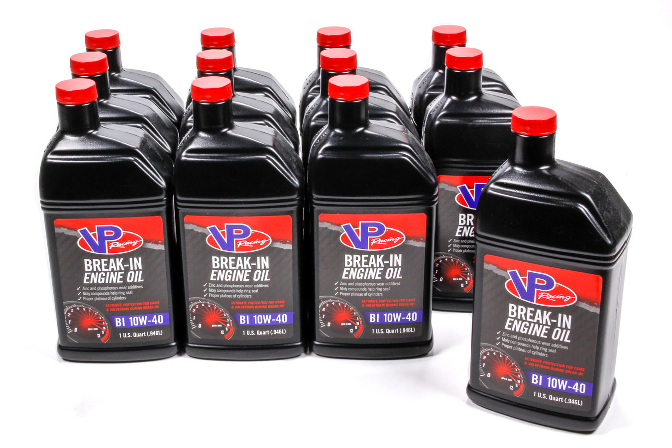 VP Fuel Containers 2417 Motor Oil, Break-In, High Zinc, 10W40, Conventional, 1 qt Bottle, Set of 12