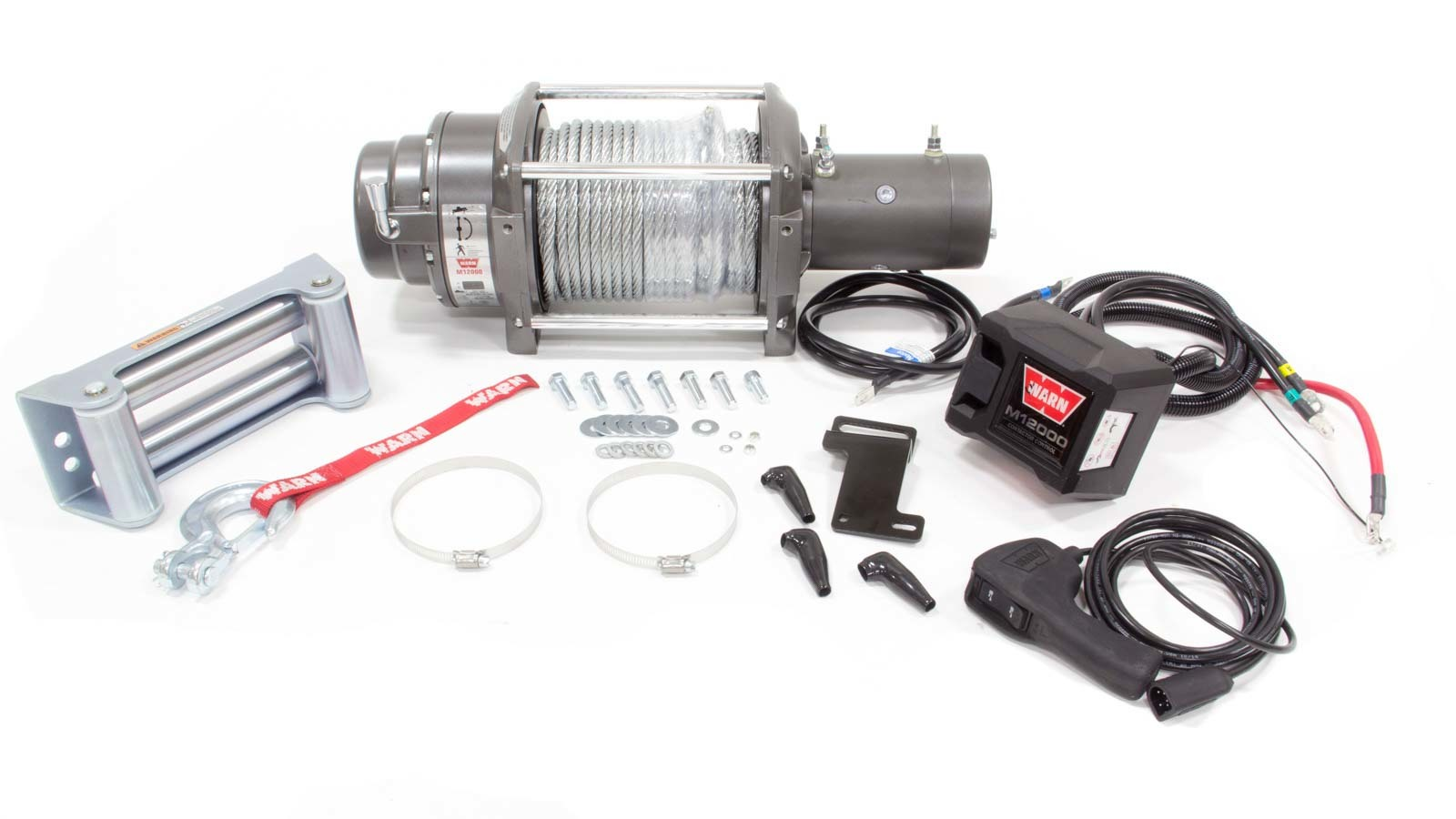 Warn 17801 Winch, M12000, 12000 lb Capacity, Roller Fairlead, 12 ft Remote, 3/8 in x 125 ft Steel Rope, 12V, Kit