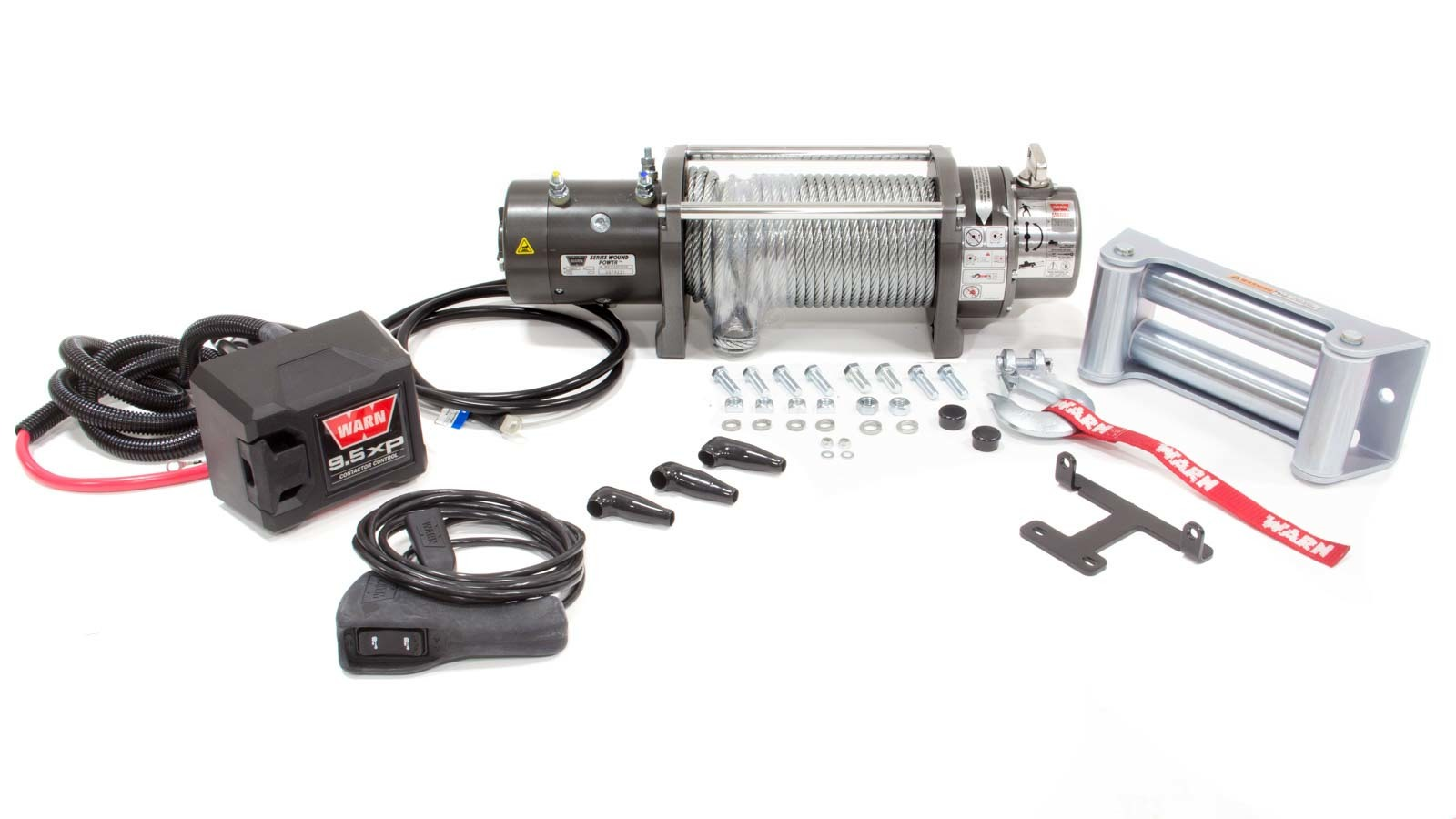 Warn 26502 Winch, M8000, 8000 lb Capacity, Roller Fairlead, 12 ft Remote, 5/16 in x 100 ft Steel Rope, 12V, Kit