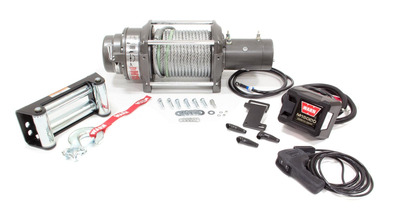 Warn 47801 Winch, M15000, 12000 lb Capacity, Roller Fairlead, 12 ft Remote, 7/16 in x 90 ft Steel Rope, 12V, Kit