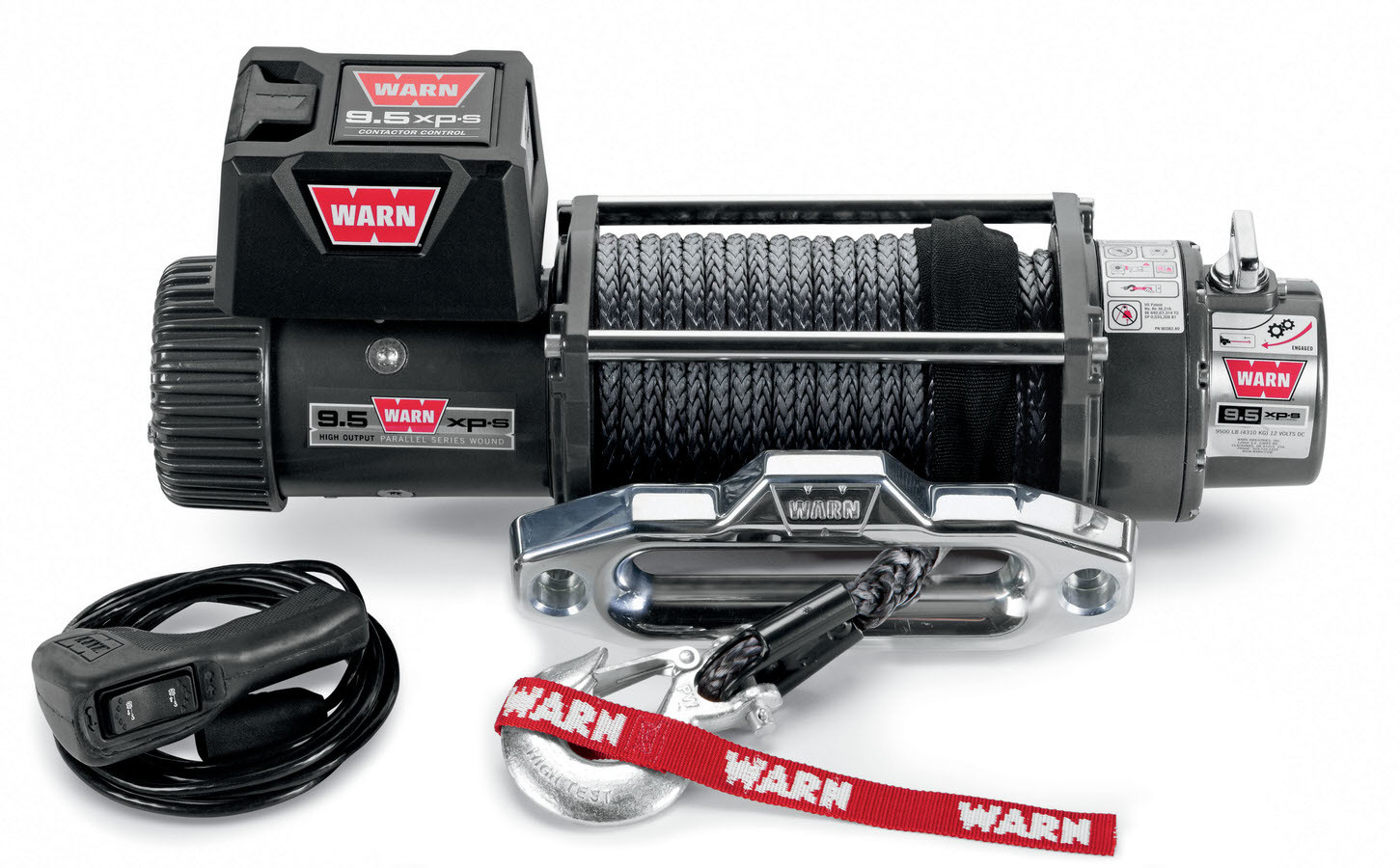 Warn 87310 Winch, 9.5xp-S, 9500 lb Capacity, Hawse Fairlead, 12 ft Remote, 5/16 in x 100 ft Synthetic Rope, 12V, Kit