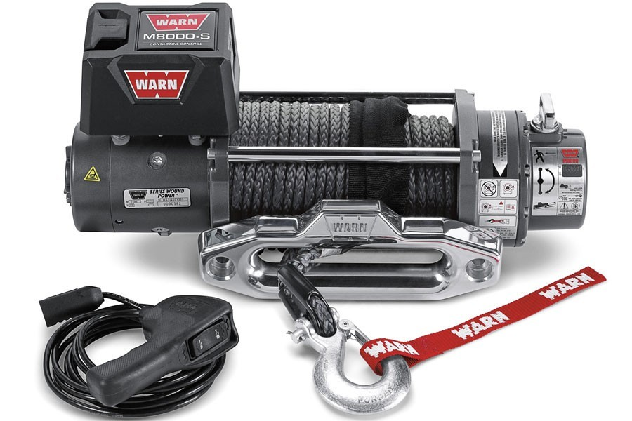 Warn 87800 Winch, M8000-S, 8000 lb Capacity, Hawse Fairlead, 12 ft Remote, 3/8 in x 100 ft Synthetic Rope, 12V, Kit