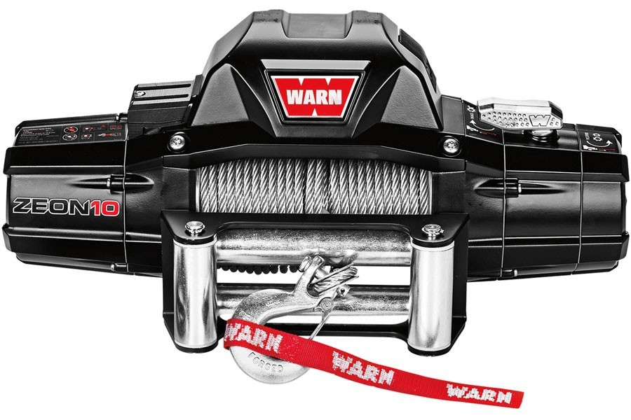 Warn 88990 Winch, Zeon 10, 10000 lb Capacity, Roller Fairlead, 12 ft Remote, 3/8 in x 80 ft Steel Rope, 12V, Kit