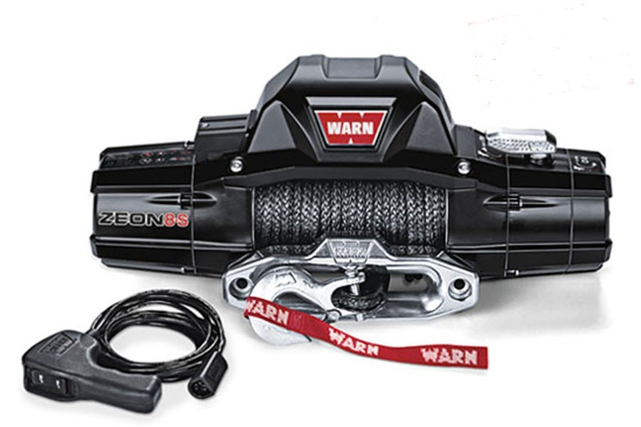 Warn 89305 Winch, Zeon 8-S, 8000 lb Capacity, Hawse Fairlead, 12 ft Remote, 3/8 in x 100 ft Synthetic Rope, 12V, Kit