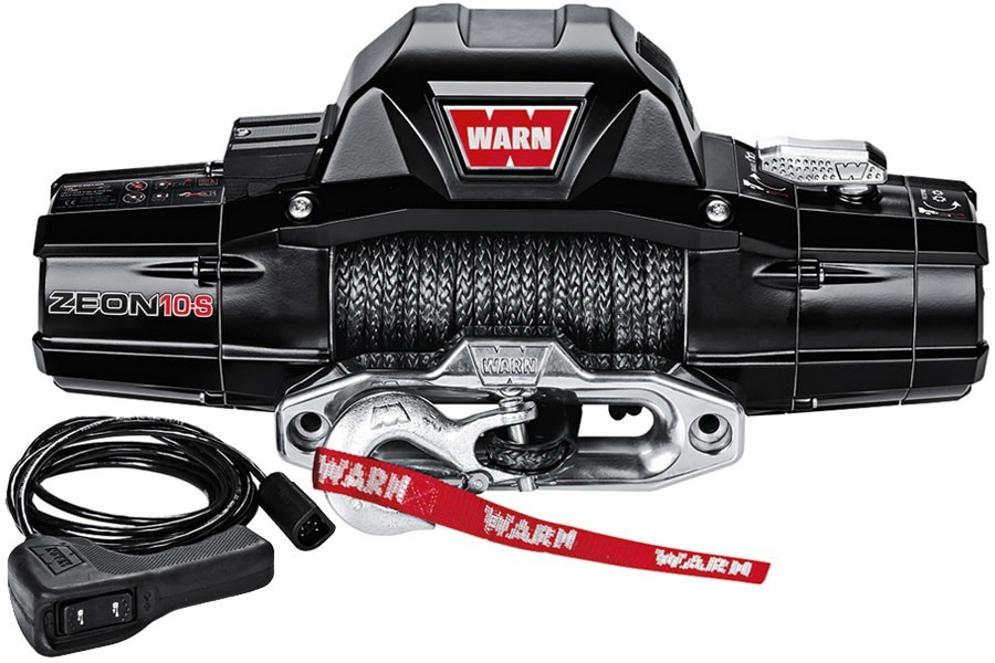 Warn 89611 Winch, Zeon 10-S, 10000 lb Capacity, Hawse Fairlead, 12 ft Remote, 3/8 in x 100 ft Synthetic Rope, 12V, Kit
