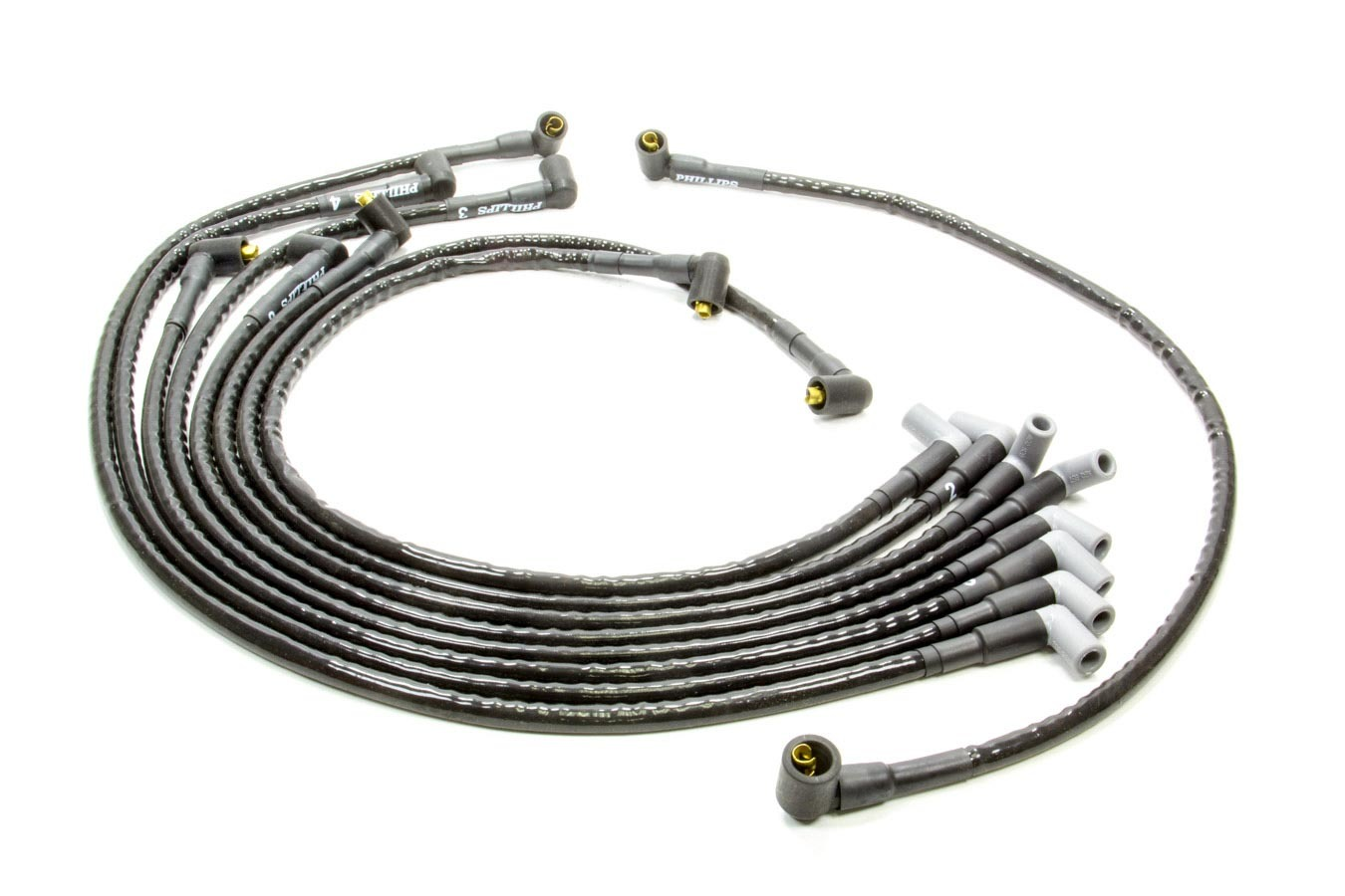Woody Wires S816 Spark Plug Wire Set, Woody Wires, Spiral Core, 8 mm, Sleeved, Black, 90 Degree Boots, Socket Style, Around Back, Small Block Chevy, Kit