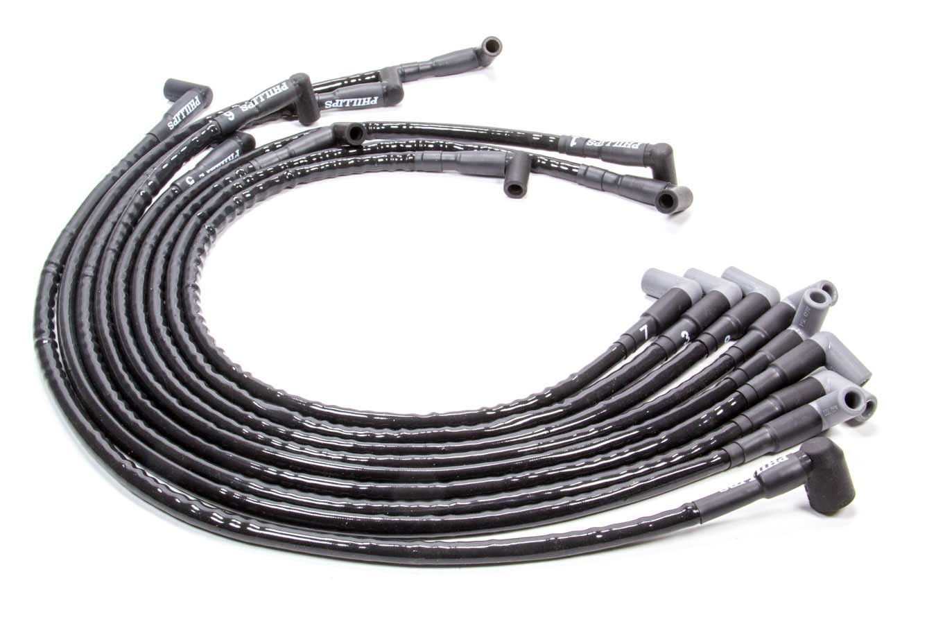 Woody Wires S817 Spark Plug Wire Set, Woody Wires, Spiral Core, 8 mm, Sleeved, Black, 90 Degree Boots, HEI Style Terminal, Around Back, Small Block Chevy, Kit