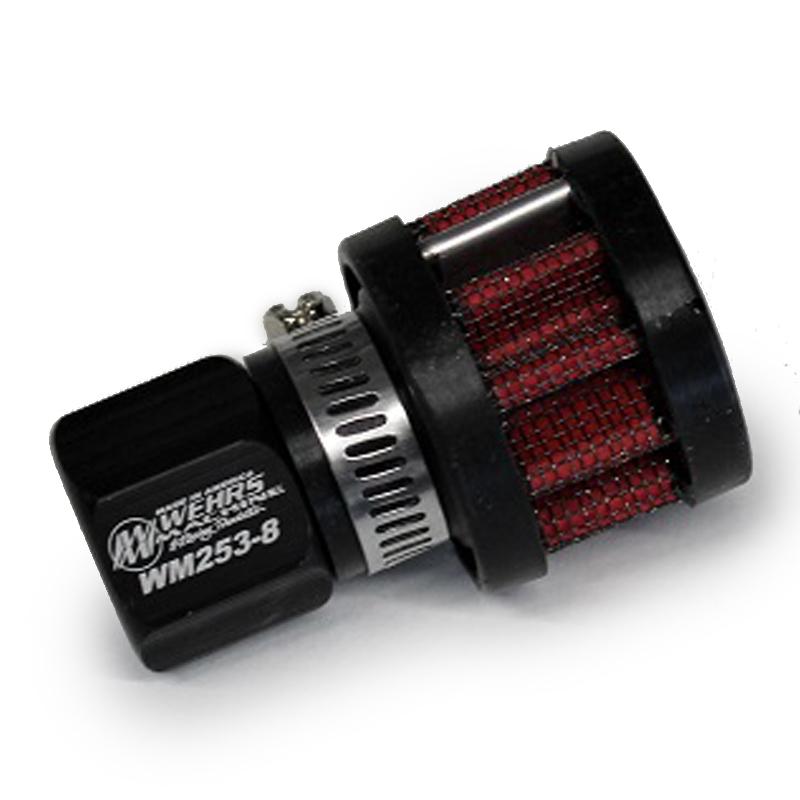 Wehrs Machine WM253-8 Breather, Screw-In, Round, 8 AN Hole, Steel, Chrome, Each