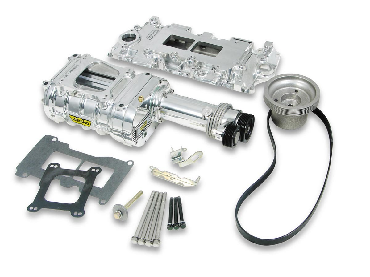 Weiand 6510-1 Supercharger System, 142 Powercharger, Roots Style, Polished, Small Block Chevy, Kit