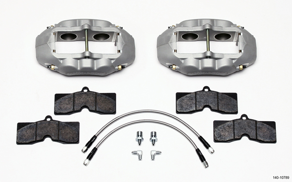 Wilwood 140-10789 Brake System, D8-4, Front, 4 Piston Caliper, Pads / Lines / Fittings, Aluminum, Clear Anodize, 11.750 in OD x 1.250 in Thick Rotor, Chevy Corvette 1965-82, Kit