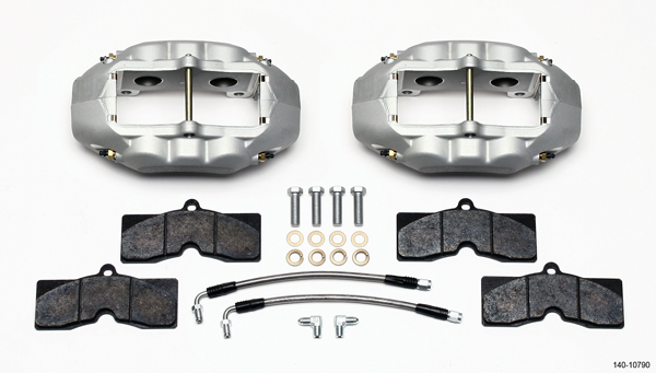 Wilwood 140-10790 Brake System, D8-4, Rear, 4 Piston Caliper, Lines, Pads, Aluminum, Clear Anodize, Chevy Corvette 1965-82, Kit