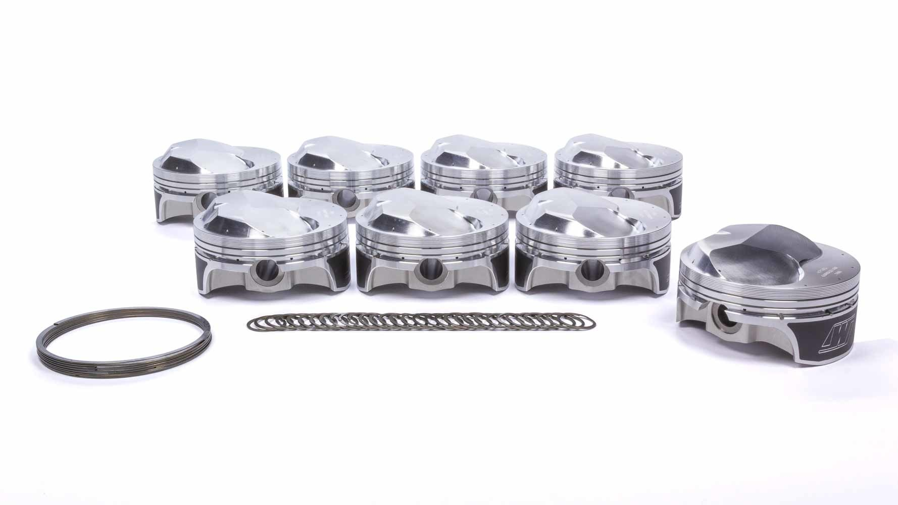 Wiseco K0006B100 Piston and Ring, Quick 16, Forged, 4.600 in Bore, 0.043 x 0.043 x 3 mm Ring Grooves, Plus 42 cc, Big Block Chevy, Set of 8