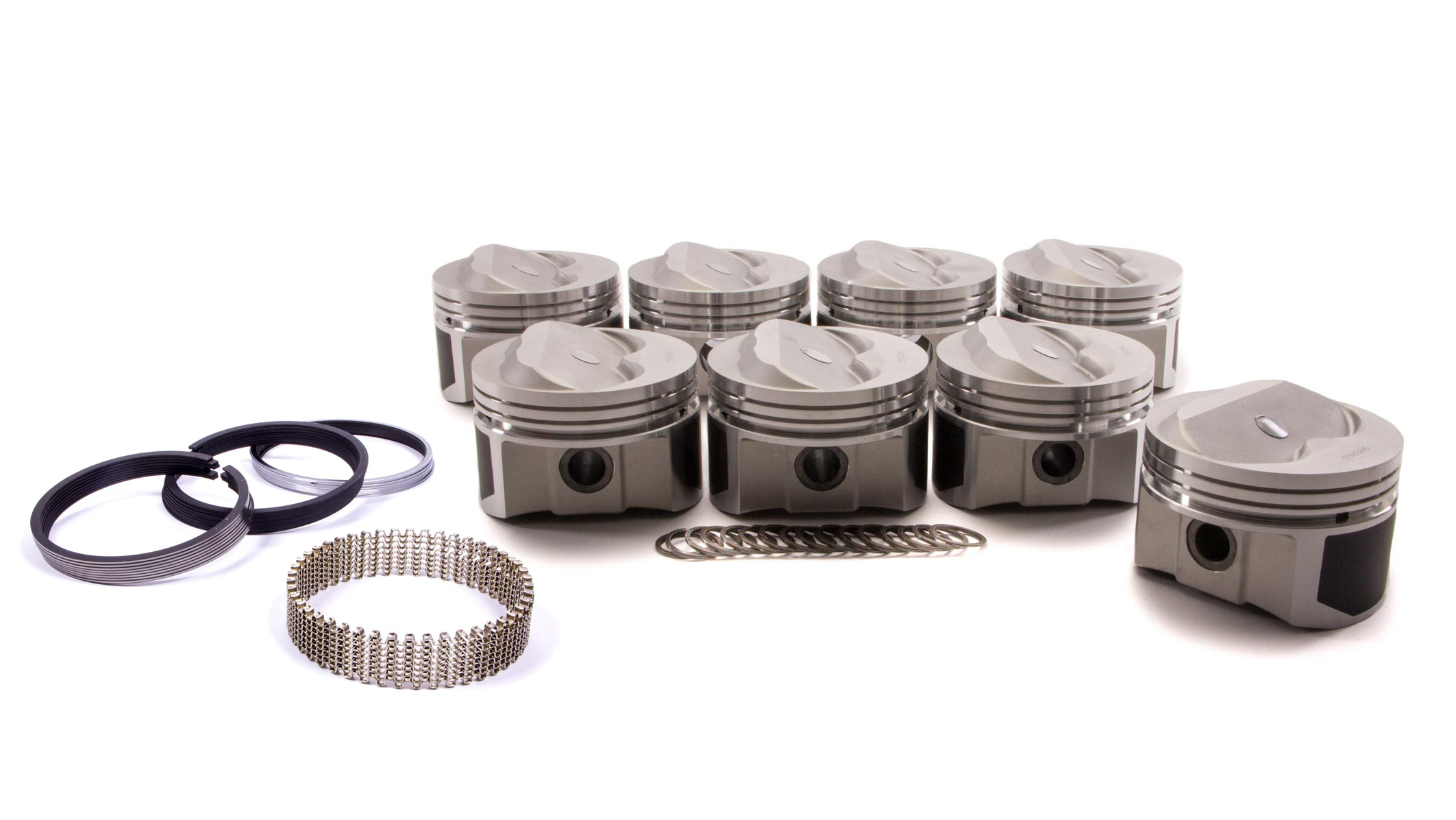 Wiseco Pro-Tru PTS502A6 Piston and Ring, 23 Degree Dome, Forged, 4.060 in Bore, 1/16 x 1/16 x 3/16 in Ring Grooves, Plus 8.0 cc, Small Block Chevy, Kit