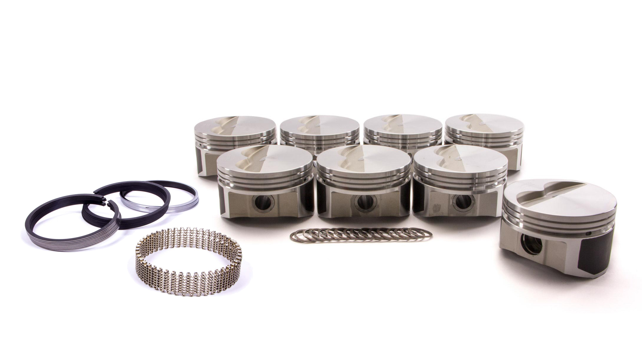 Wiseco Pro-Tru PTS503A6 Piston and Ring, 23 Degree Flat Top, Forged, 4.060 in Bore, 1/16 x 1/16 x 3/16 in Ring Grooves, Minus 5.0 cc, Small Block Chevy, Kit