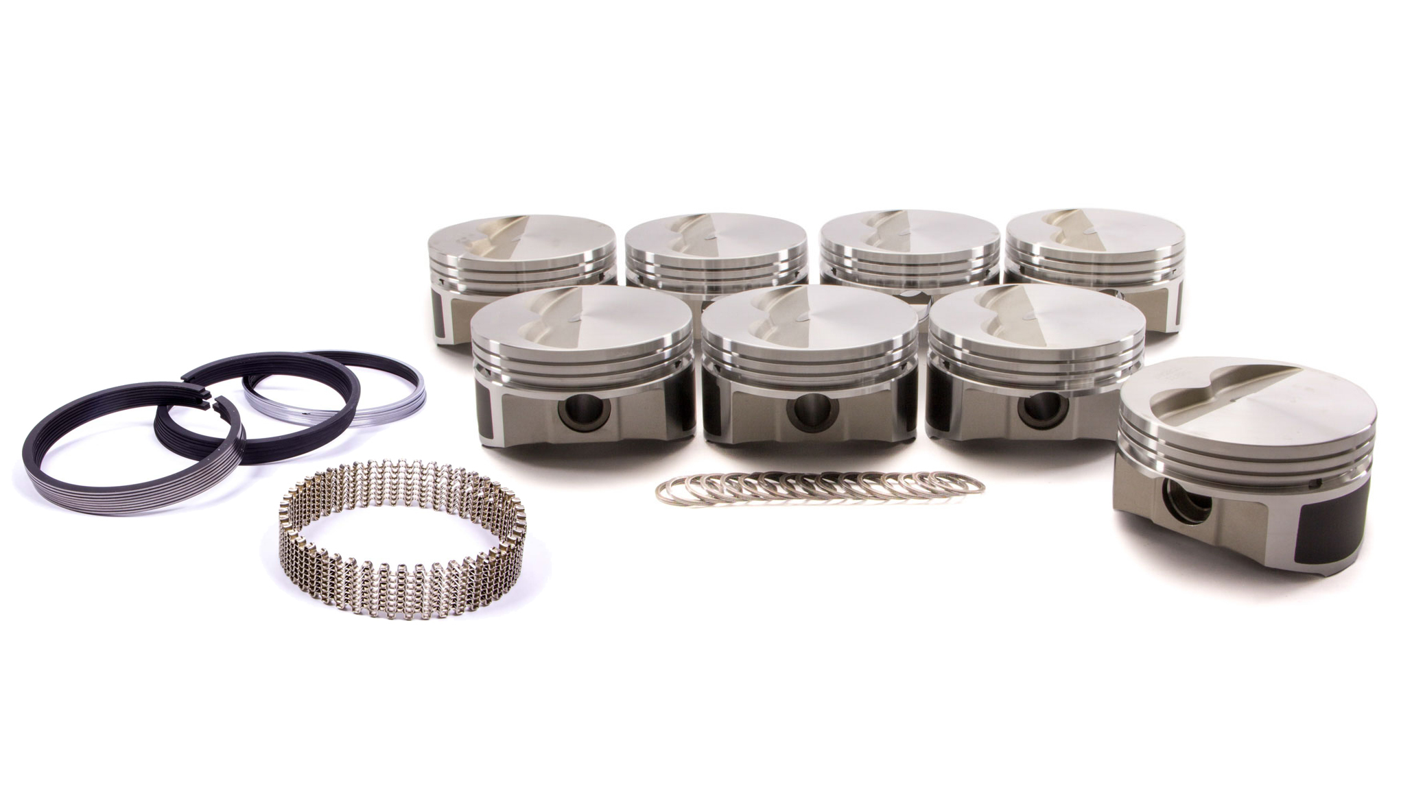 Wiseco Pro-Tru PTS505A3 Piston and Ring, 23 Degree Flat Top, Forged, 4.030 in Bore, 1/16 x 1/16 x 3/16 in Ring Grooves, Minus 5.0 cc, Small Block Chevy, Kit