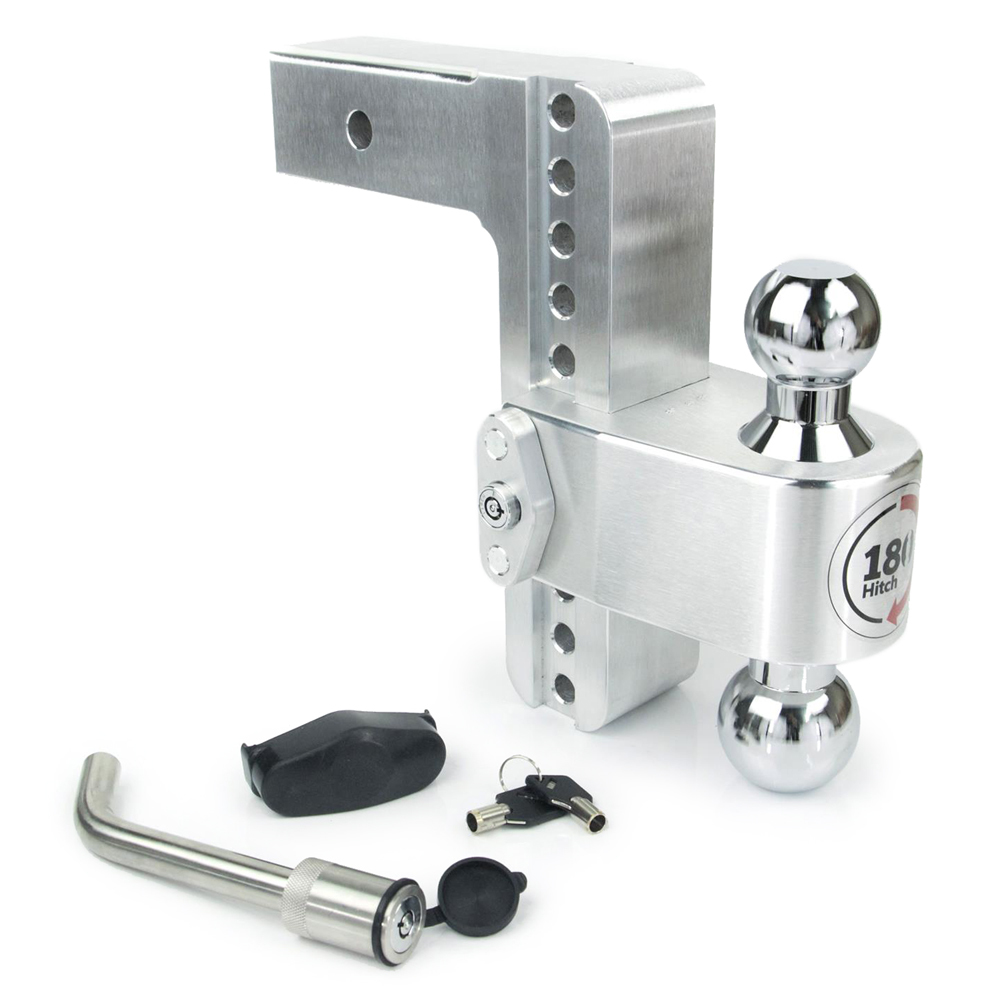 Weight Safe CTB8-2-KA Ball Mount Hitch, 2 in Shaft, 2 / 2-5/16 in Hitch, 8 in Drop, 8000 / 12500 lb Capacity, Keyed Alike, Aluminum / Steel, Natural / Chrome, Kit
