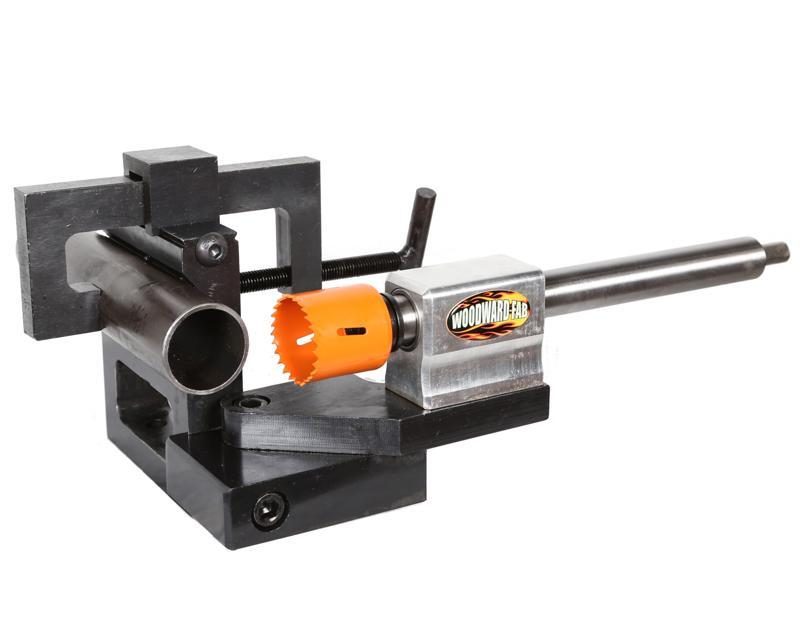 Woodward Fab WFN6 Tubing Notcher, Hole Saw, 3/4 to 3 in OD Tubing, Up to 50 Degrees Adjustment, 1/2 in Hand Drill, Steel, Natural, Kit