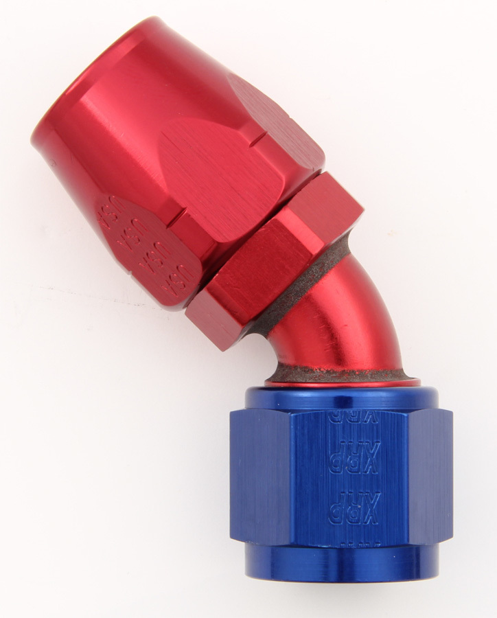 XRP 104504 Fitting, Hose End, 45 Degree, 4 AN Hose to 4 AN Female, Aluminum, Blue / Red Anodize, Each