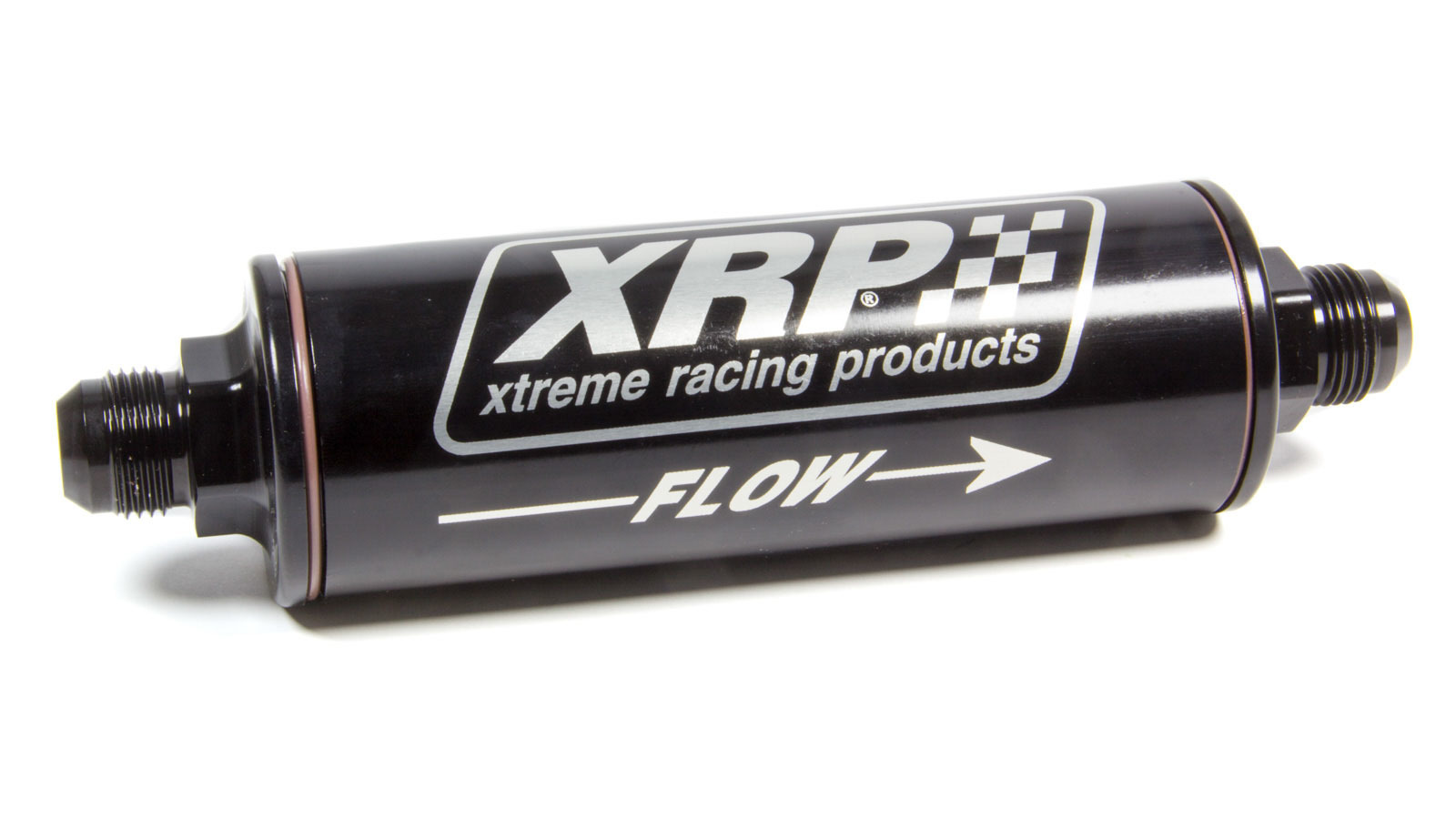 XRP 7112AN Oil Filter, In-Line, 12 AN Inlet, 12 AN Outlet, 9.600 in Length, Requires Filter, Aluminum, Black Anodized, Each