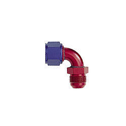 XRP 920510 Fitting, Adapter, 90 Degree, 10 AN Male to 10 AN Female Swivel, Aluminum, Blue / Red Anodize, Each